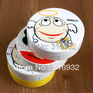 4pcs/lot Funny expressions round Contact Lens Case, Cartoon Glasses box