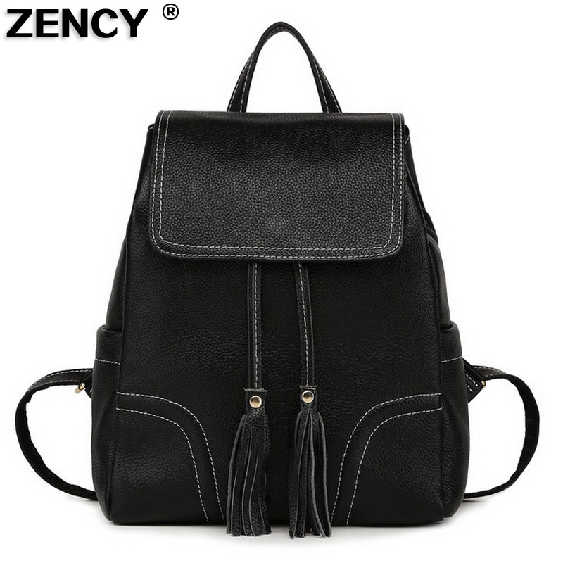 ZENCY Backpack 100% Genuine Real Leather Women's Backpacks Ladies Young Girl's Bags Top Layer Cowhide School Casual Bag Mochila zency genuine leather backpacks female girls women backpack top layer cowhide school bag gray black pink purple black color
