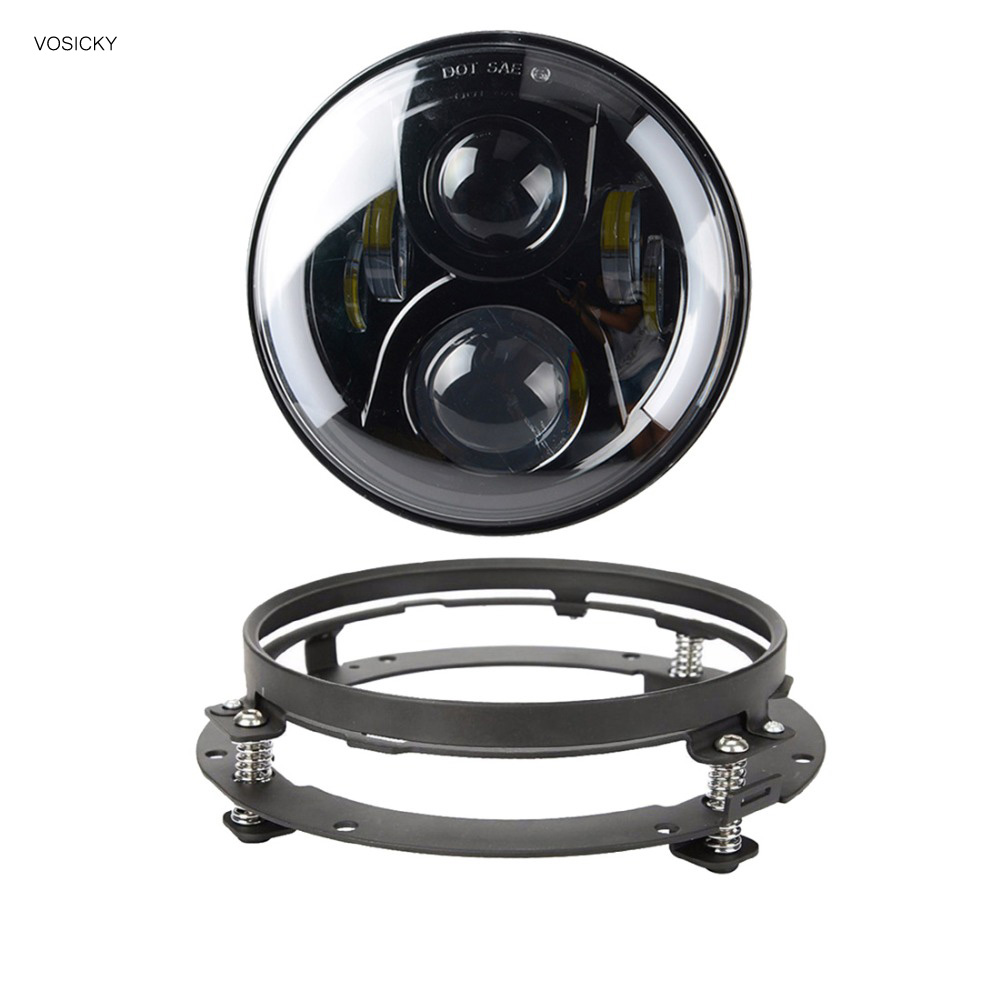 VOSICKY 7 inch Led Motorcycle Headlight with Halo Angel Eye DRL Turn Signal Lights H4 H13 For Harely Softail Dyna Sportster unionlux 7 led headlight with white halo angel eye ring drl