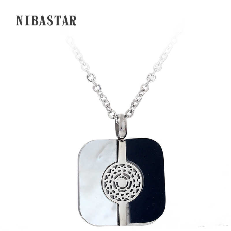 Black and White Square pendant 316L Stainless Steel Shell Jewelry fashion necklaces for women