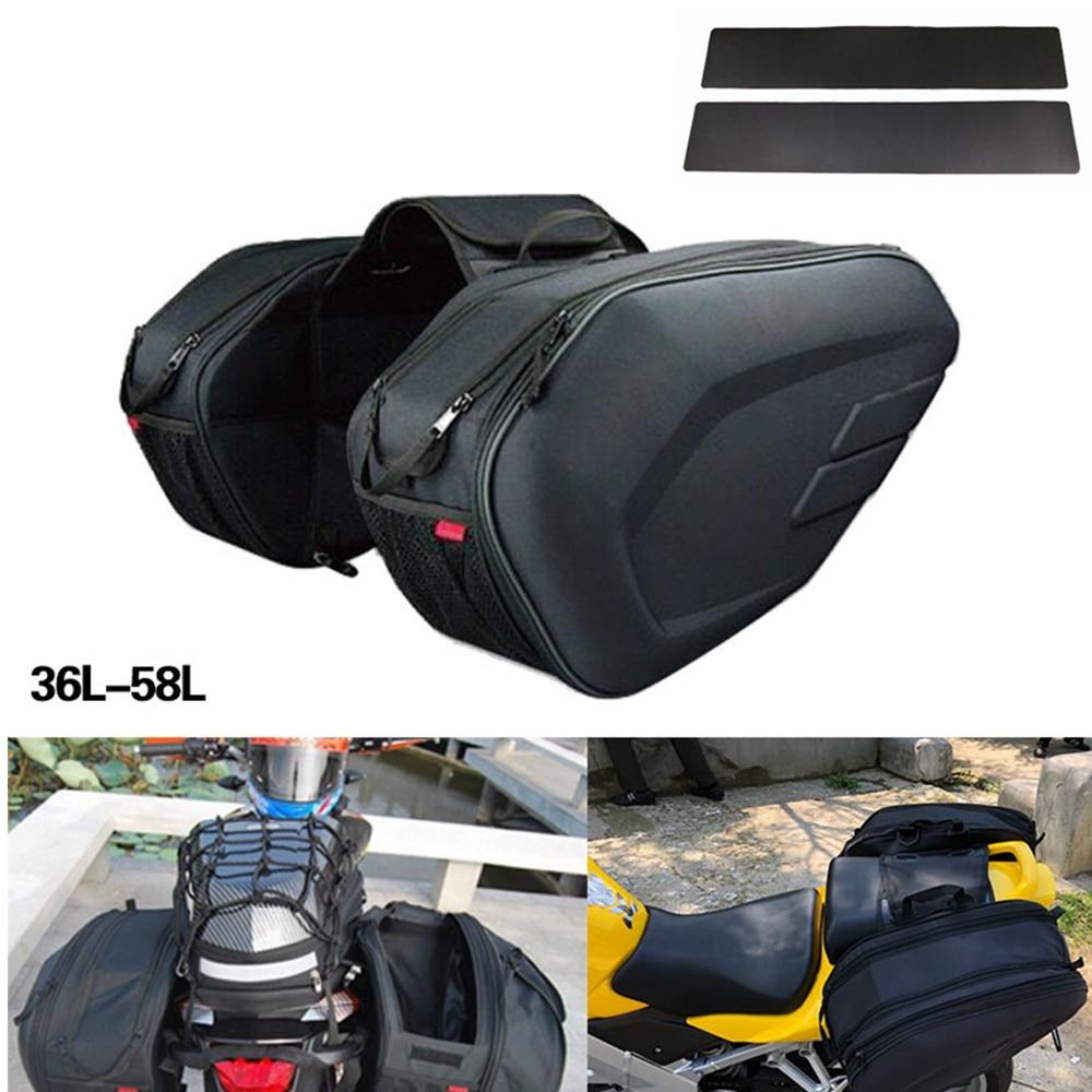 For BMW Honda Suzuki KTM Harley Motorcycle Saddle Bag Motorcycle Side Helmet Riding Travel Bags + Rain Cover + plastic plates s1000rr turn led lights