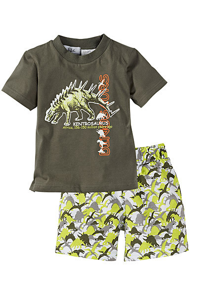 Promotion 45% summer boy clothing sets short sleeve Dinosaur T-shirt+beach shorts casual toddler children wear