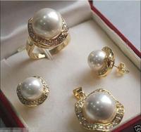 Hot koop nieuwe Stijl>> Elegant Wit Zuidzee Shell Parel GP ketting Hanger Oorbellen Ring Set