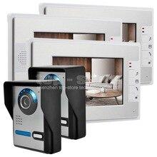 """DIYSECUR 7 """"Lcd de Color de Vídeo Timbre de la Puerta Del Kit de Teléfono Manos Libres 3 Monitores + 2 Ir Cámaras de Visión Nocturna Compatiable Con e-lock"""