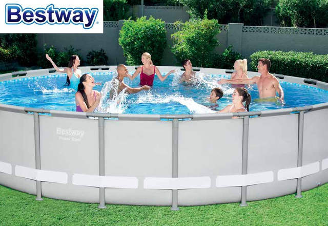 US $1169.0 |56705 Bestway POWER Steel 671x132CM Round Frame Swimming Pool  Set 22Ft*52In Outdoor Above Ground Pool+Cover,Mat,Ladder,Filter-in Pool &  ...