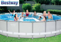 56705 Bestway POWER Steel 671x132CM Round Frame Swimming Pool Set 22Ft*52In Outdoor Above Ground Pool+Cover,Mat,Ladder,Filter