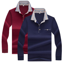 2pcs 2019 Spring Autumn New polos High quality brand business casual men polo shirt Long sleeve solid tops & tees