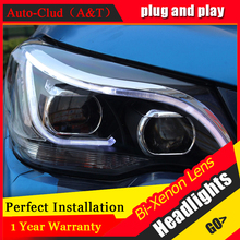 Auto Clud Car Styling for New Forester LED Headlight 2014 Forester DRL Lens Double Beam H7 HID Xenon bi xenon lens