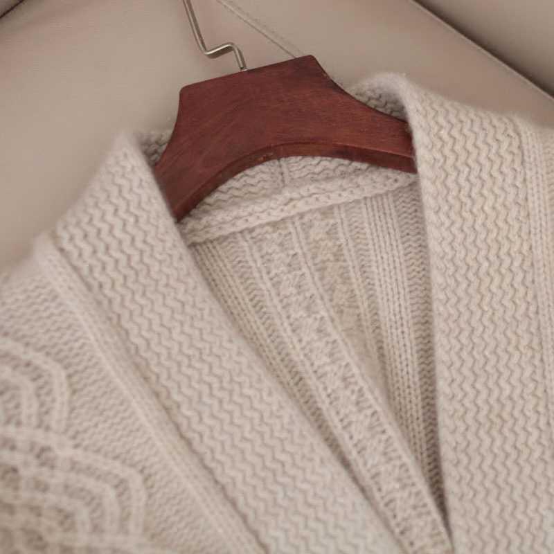 Herbst pullover weibliche 100% reinem kaschmir strickjacke gürtel pullover verdickung 2018 frühjahr neue kleid lose high-end jacke