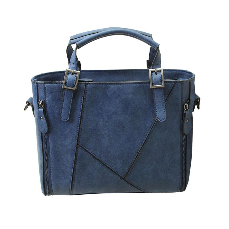 Women Ladies Matte PU Leather Shoulder Bag Tote Retro Large Handbag Purse, Blue