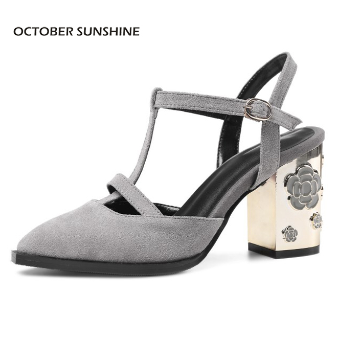 OCTOBER SUNSHINE Summer Suede Women Shoes pointed toe High heels Sandals Woman Work shoes Fashion flowers womens heels pumps plus size 2017 new summer suede women shoes pointed toe high heels sandals woman work shoes fashion flowers womens heels pumps