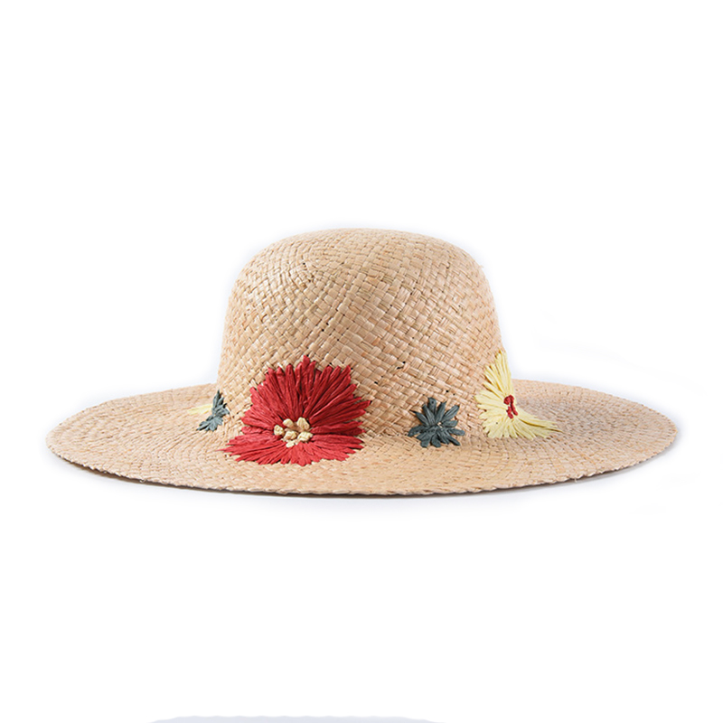 9f0f2de885e00b 2019 Women Flower Embroidery Straw Sun Hat Spring Summer Dom Cap Beach  Sun-block Hat