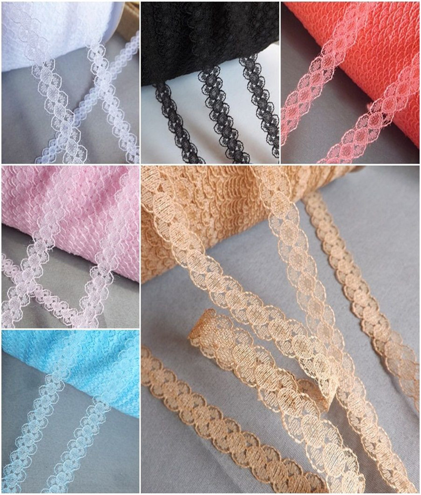 Width 12mm new 25yards 11color Embroidered Net Lace Trim fabric Garment ribbon headband wedding party decoration