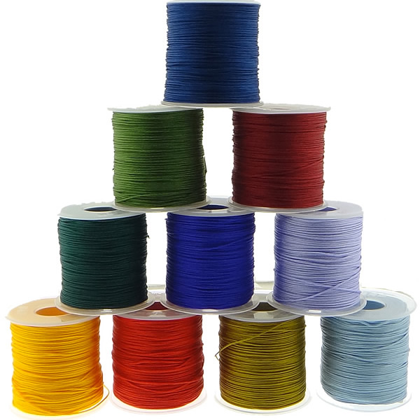 15 Color 1MM 100Yards roll Satin Rattail Nylon Cords String Kumihimo Macrame Rope Chinese Knot Cord