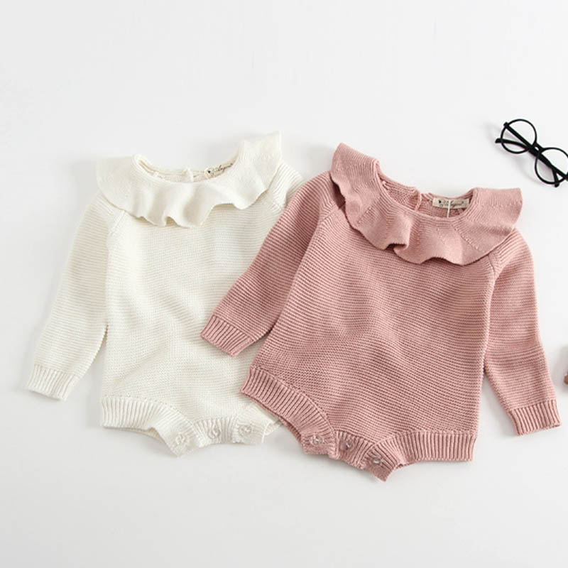 Baby Girl Romper Autumn New Born Baby Knitted Romper Ruffle Long Sleeve Newborn Baby Clothes Infant Baby Jumpsuits Girl overall