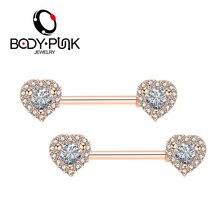 Body Punk Brand 2018 New Women Nipple Piercing Jewelry 14G Double Heart 100% AAA CZ 316 L Surgical Steel Barbell 2Pcs