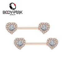 Body Punk Brand 2018 New Women Nipple Piercing Jewelry 14G Double Heart 100 AAA CZ 316
