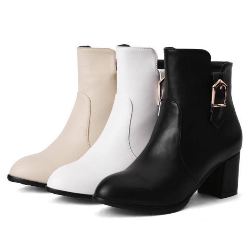 Botas blanc Bout Cheville Beige Mode Bottes Femme noir Rond Talons 43 Chaussures 31 Carré Talon Taille Femmes Boucle Vintage Classique Zipper vRqtwqS