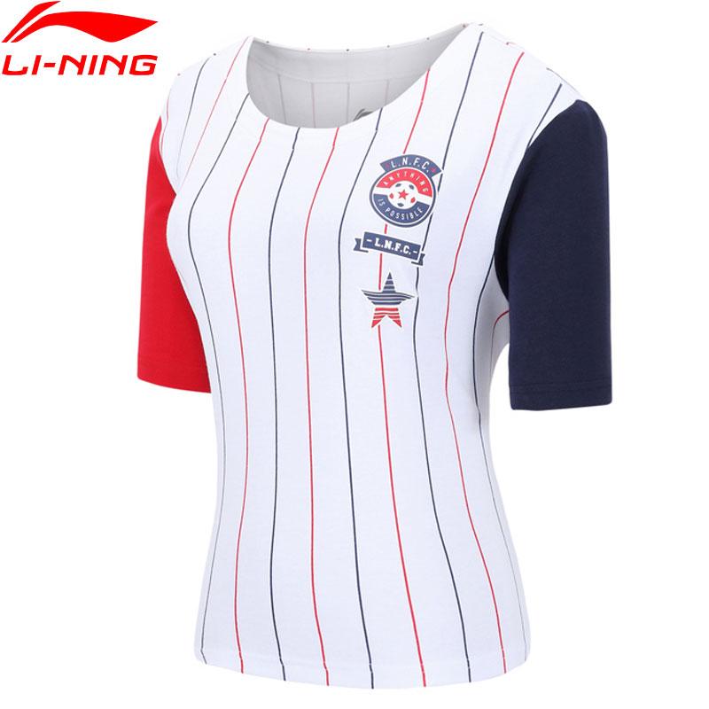 Li-Ning Women The Trend T-Shirt 100% Cotton Loose Fit LiNing Breathable Stripes Jerseys Li Ning Sports Tee Tops AHSN068 WTS1486
