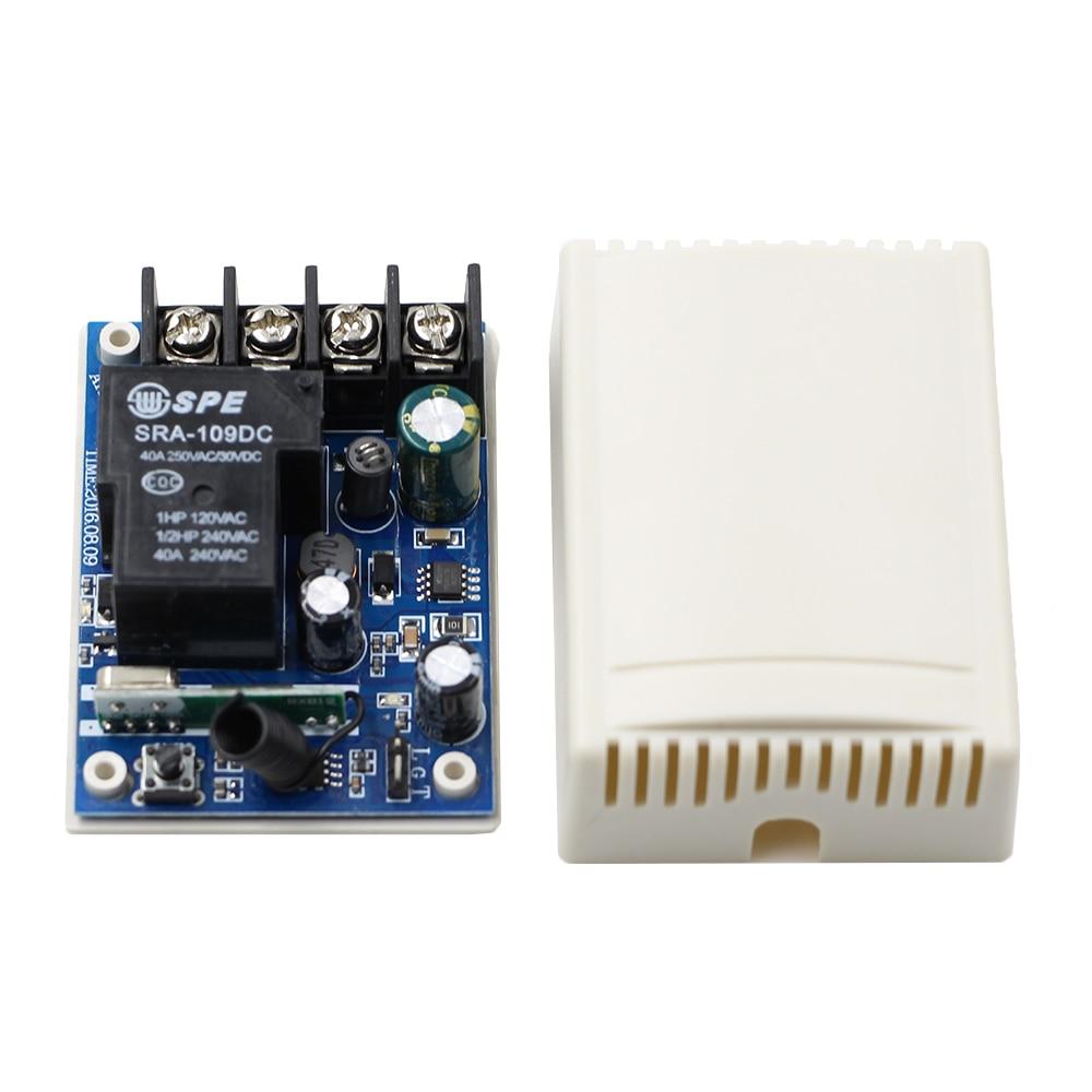 Mejor Precio Amplio del Voltaje DC 12 V 24 V 36 V 48 V 30 A 1 CH RF Inalámbrico Receptor y Transmisor de Control Remoto para Smart Home 315/433 mhz