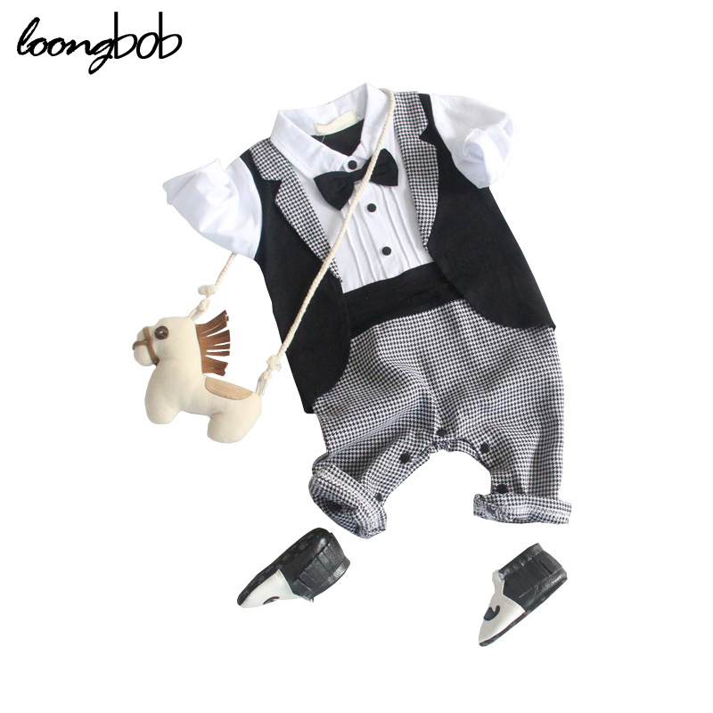 Baby Boy Romper Gentleman Modelling Infant Long Sleeve Outfits Toddler One Piece Jumpsuit Baby Bow-knot Attched Tuxedo newborn infant baby boy girl clothes long sleeve printing romper toddler baby cotton summer one piece outfits