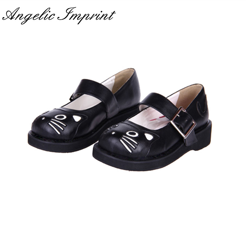 3cm Heel Black/White Sweet Lolita Cosplay Shoes Lovely Kitty Mary Jane Wedge Shoes lovely smilling kitty face faux wooden wedge lolita shoes ankle strap sweet pink girls shoes