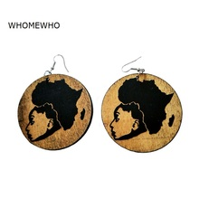 Brown Wood Round Africa Map Black Beauty Girls Tribal Earrings Natural Wooden Vintage Ethnic Accessory Ear African Boho Jewelry