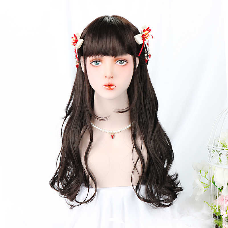 24''Synthetic Curly Lolita Wig With Bangs Nature Black Long Hair Custom Cosplay Lolita Wig For Women Density 150% Heat Resistant