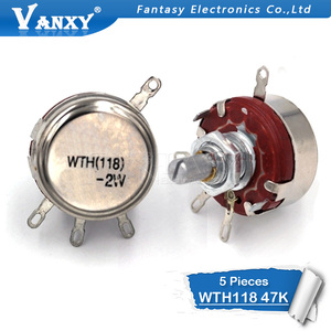 5PCS WTH118 2W 1A Potentiometer 47k ohm WTH118-2W Ronde As Carbon Rotary Taper Potentiometer