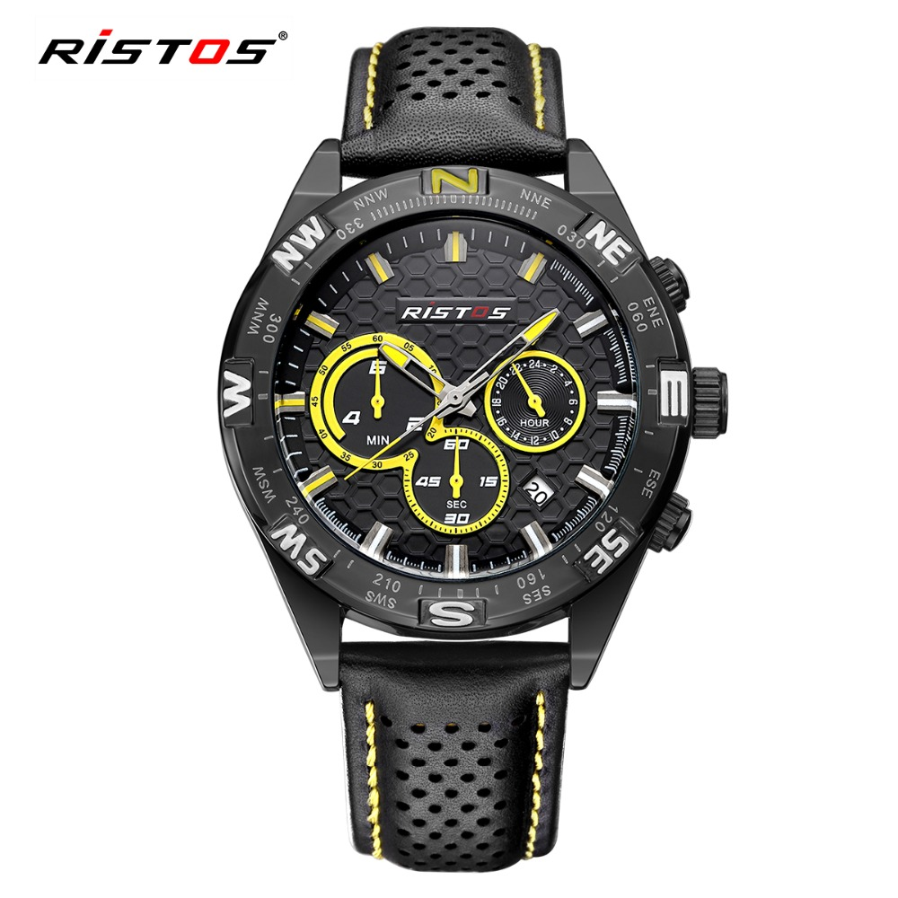 RISTOS Outdoor Sport Men Watch Chronograph Calendar Quartz Leather Watches Male Military Fashion Date Wrist Watch Casual Relojes hubot elegant classic men s watch dates calendar classical art carved craft design chronograph men sport watches relogios