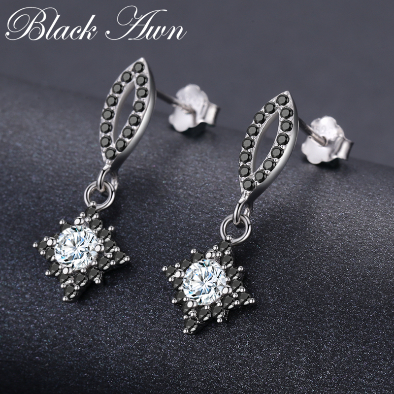 Black Awn Romantic 925 Sterling Silver Natural Black Spinel Engagement Stud Earrings for Women Fine Jewelry Bijoux TT209