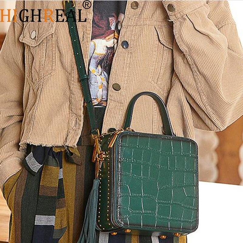 HIGHREAL Genuine Leather Women Handbag Crocodile Pattern Bag Female Shoulder Bag with Tassel Ladies Messenger Bag Drop Shipping