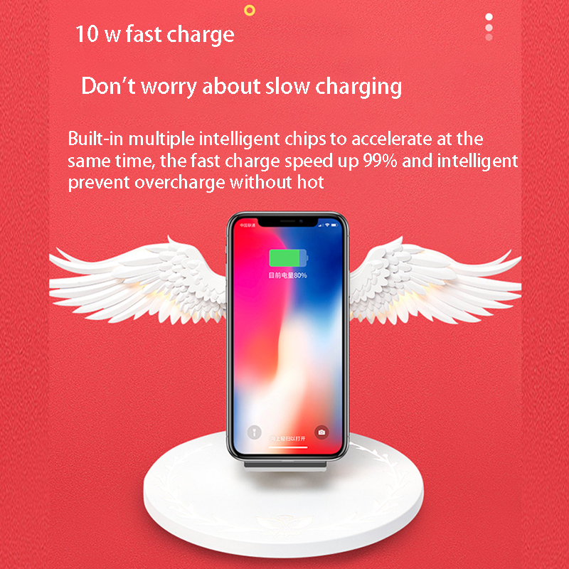 Mobile Phone - 10W Wireless Charger Angel Wings Night Light Mobile Phone Wireless Charger for Android Apple USB Fast Charge with Night Light