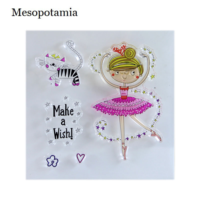 DIY Scrapbooking Stamp Seal Ballet Dance Girl Transparent Clear Stamp Silicone Seals Card Making Decorative Art Crafts Sewing lovely animals and ballon design transparent clear silicone stamp for diy scrapbooking photo album clear stamp cl 278
