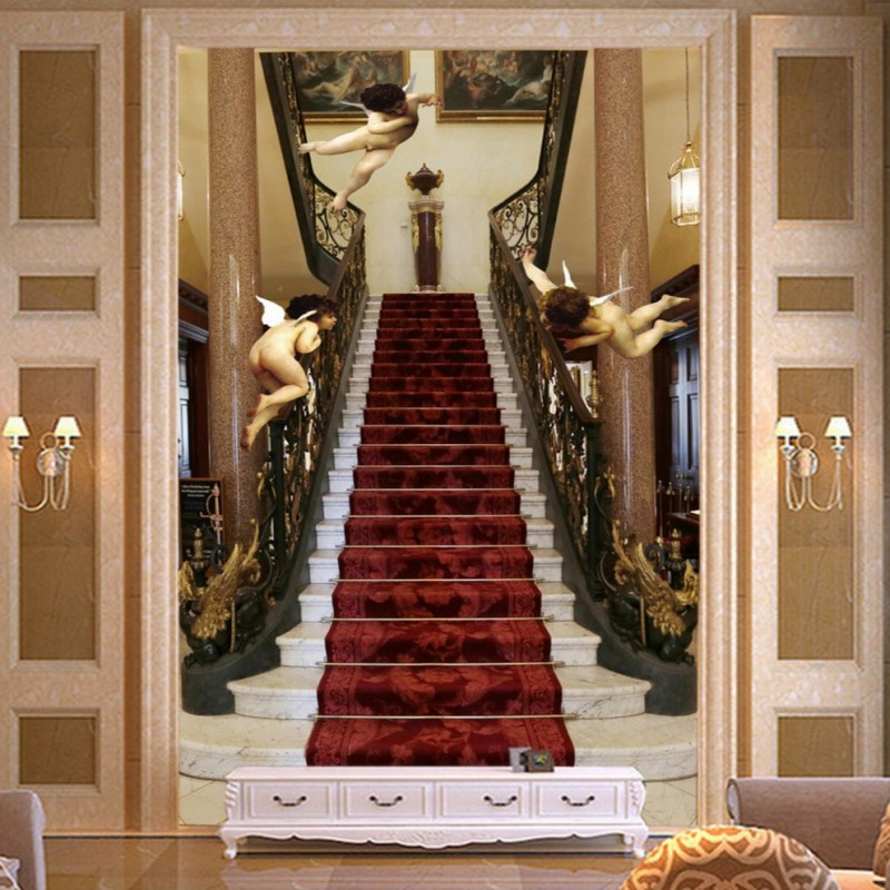 Custom 3d Wallpaper 3D Angel Staircase Paradise Custom Wallpaper Mural  Entrance Background Wall Business Hotel Decoration