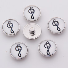 Wholesale Cartoon music note Snap Jewelry 18mm Snap Buttons DIY Glass Buttons For Women TZ4117(China)