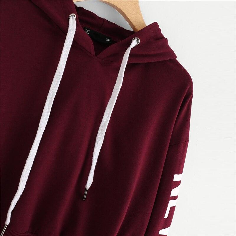 Burgundy Fashion Sleeve Lettering Crop Hoodie For Women