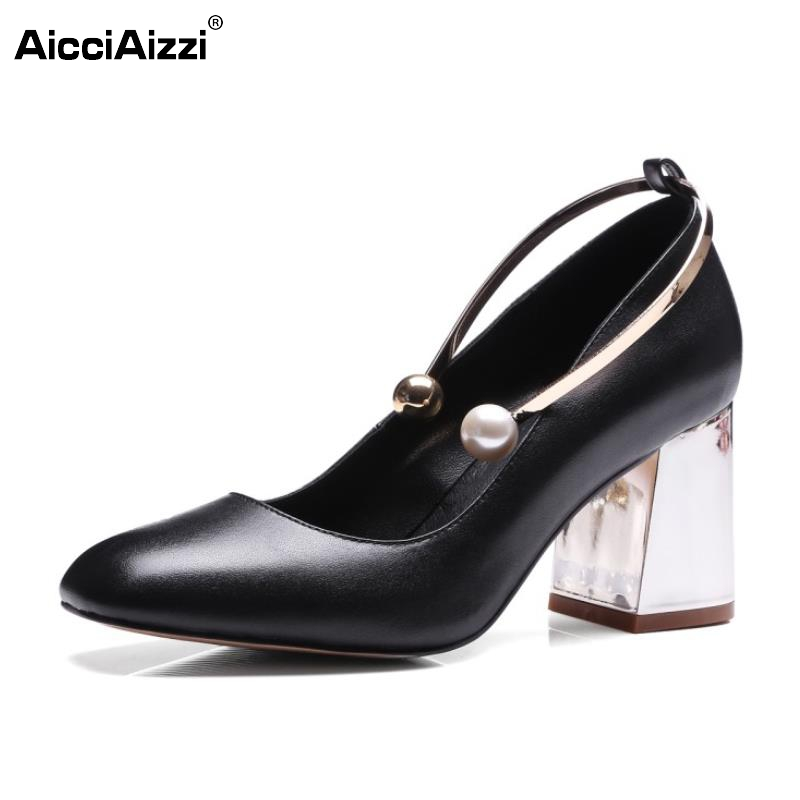 ФОТО Lady Genuine Leather High Heels Shoes Women Pearl Square Heels Pumps Daily Nude Color Square Toe New Design Footwear Size 34-39