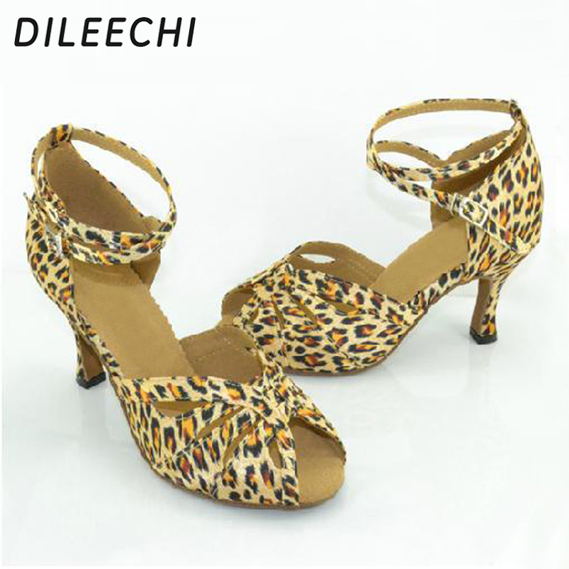 feb142cc7 DILEECHI Leopard print satin Latin dance shoes female summer adult Ballroom  dancing shoes women's party square dance shoes-in Dance shoes from Sports  ...