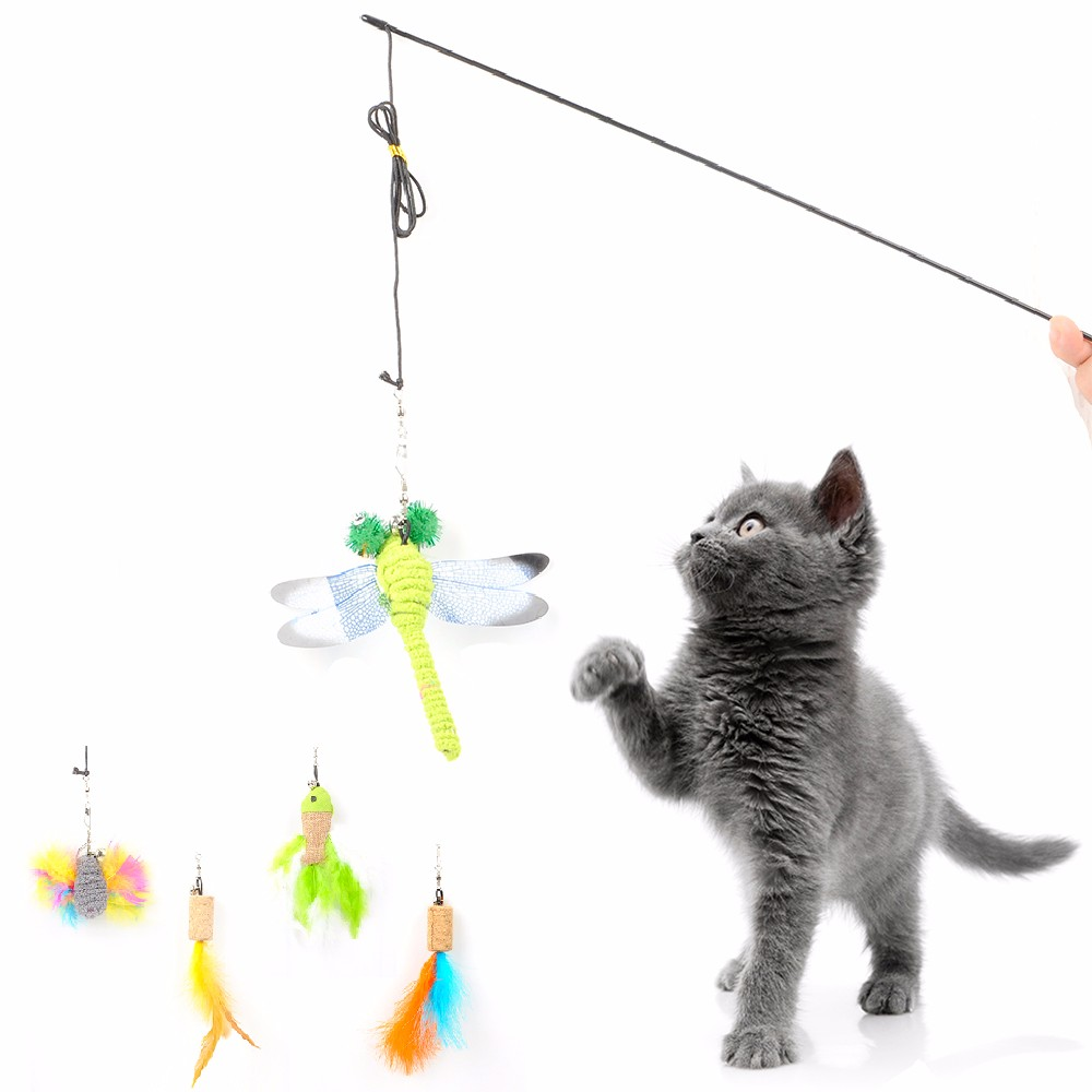 1 Set Pet Cat Interactive Toy Birds Feather Plush Plastic Toy For Kitten Cats Catcher Teaser Replacement Flexible Playing Stick