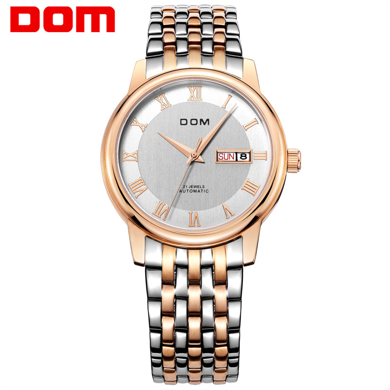 DOM Mens Watch Fashion Luxury Wristwatch Waterproof Automatic Mechanical Watch Gold Business Casual Auto Date Watch M-54G-7M
