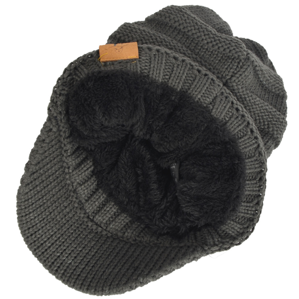 ab7911f53ce9a HISSHE Mens Winter Newsboy Cap Retro Knit Visor Newsboy Faux Fur Thick Warm  Beanie Cap Outdoors Ski Hats For Unisex-in Newsboy Caps from Apparel  Accessories ...