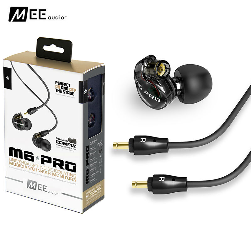 MEE Audio M6 PRO Universal-Fit Noise-isolating HiFi DJ Momitor Music In-Ear Monitors Earphones with Detachable Cables PK SE525 new wired earphone mee audio m6 pro universal fit noise isolating earphones musician s in ear monitors headset good than pb3 pb