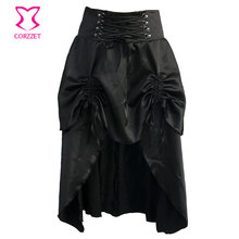 Black Satin Gothic Skirt With Ruffle Women Burlesque Mid Swallowtail Skirts Matching Steampunk Corsets and Bustiers