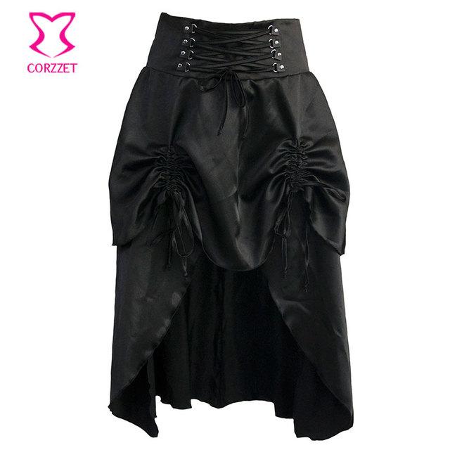Falda Con Volantes Mujeres Burlesque Gótico negro Satinado Mediados de Swallowtail Faldas A Juego Steampunk Corsés y Bustiers