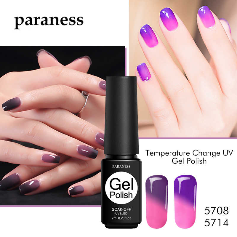 Paraness 1pcs Newest Temperature Changing Color Gel Nail Polish 7ml LED UV Soak-off Gel Nail Lacquers for Sale All for Manicure