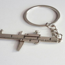 Univeral Car Styling Metal Movable Vernier Caliper Ruler Model  Keychain Key Chain Keyring Keyfob Tool Gift Accessories