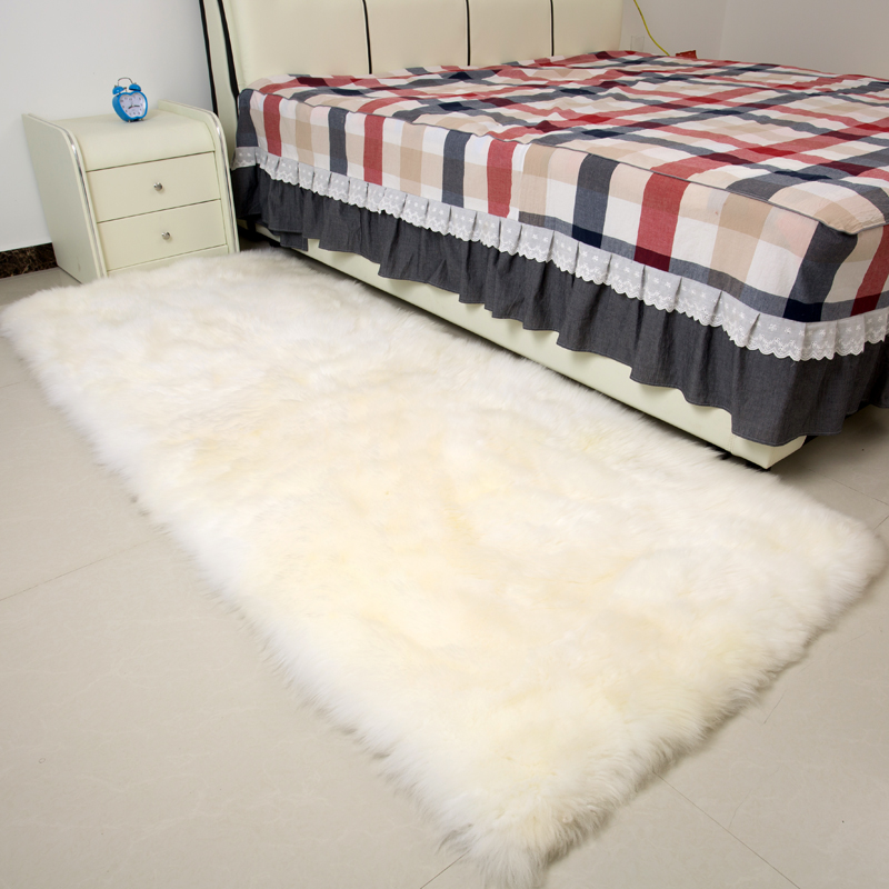 Square real sheepskin rug 100*200cm sheep fur bed slide carpet white shaggy sheep fur sofa cushion cover for home decor doormat