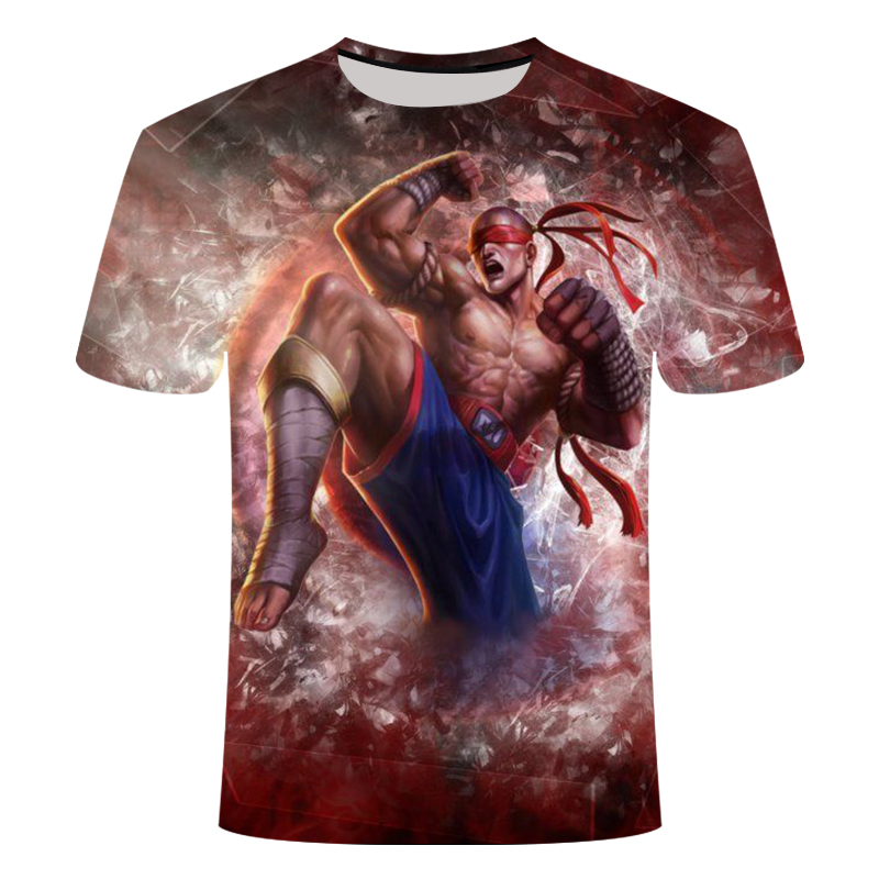 3D Printed League Of Legends Games Tshirt Men's Women's Short Sleeve T-Shirt Yasuo Leesin Darius Garen Thresh Asian Size 6XL