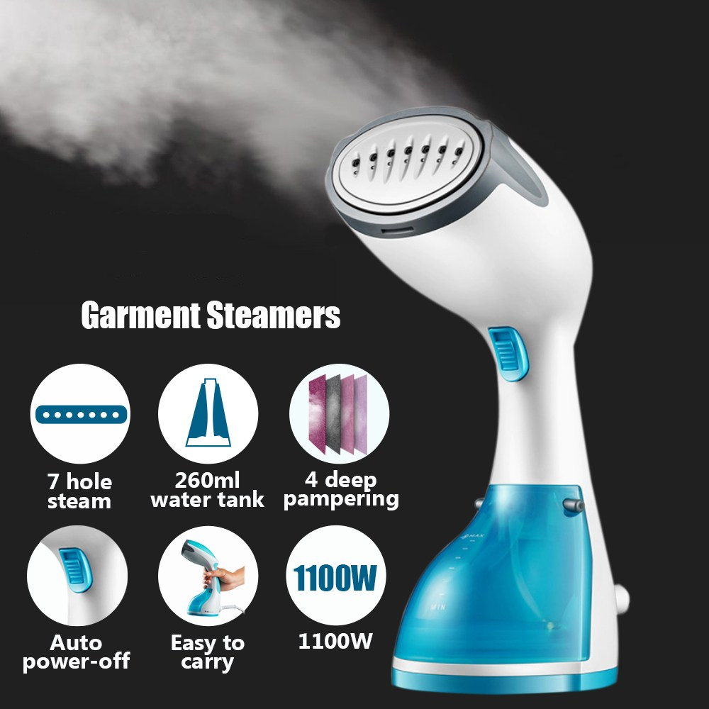 1100W Handheld Garment Steamer Portable Home and Travel Fabric Steamer 260ml Water Tank Vertical Garment Steamer For Clothes